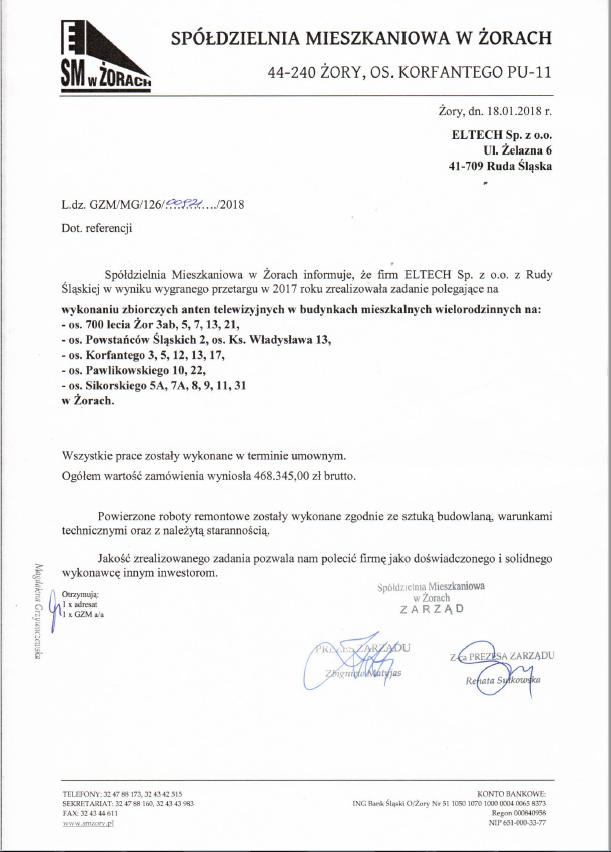 Spółdzielnia Mieszkaniowa w Żorach 2017 - anteny