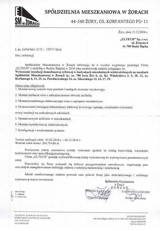 Spółdzielnia Mieszkaniowa w Żorach 2016 - Domofony