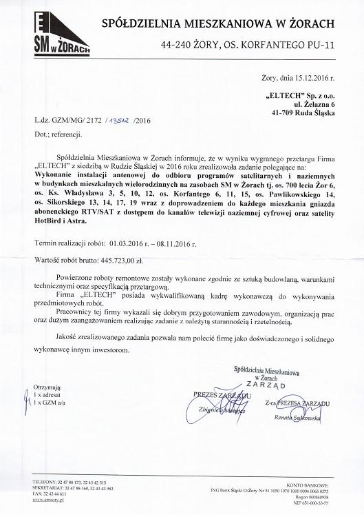 Spółdzielnia Mieszkaniowa w Żorach 2016 - Anteny